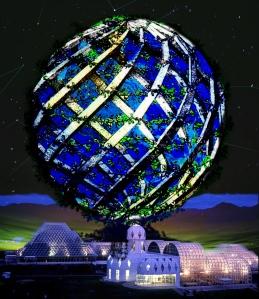 esfera con flores + espacio + biosphere 2 copy